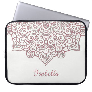 Faux rose gold Gold Intricate Lace Mandala white Laptop Sleeve