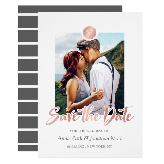 Faux Rose Gold & Grey Monogram Save the Date Card