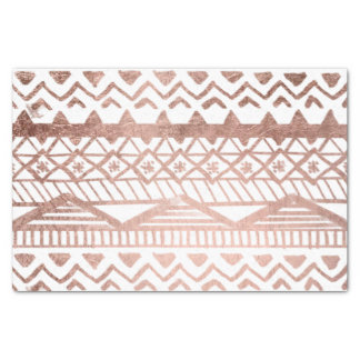 Faux rose gold handdrawn geometric aztec tissue paper
