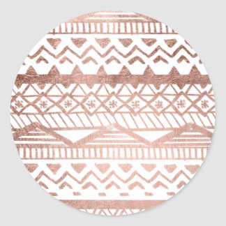 Faux rose gold handdrawn trendy aztec classic round sticker