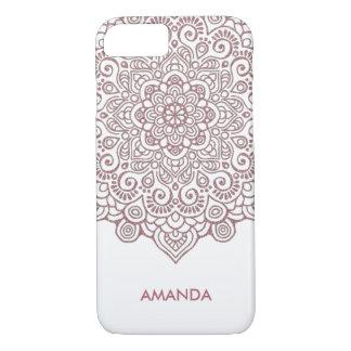 Faux Rose Gold Intricate Lace Mandala white Case-Mate iPhone Case
