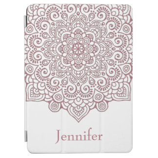 Faux Rose Gold Intricate Lace Mandala white iPad Air Cover