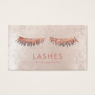 faux rose gold lashes  makeup artist business card