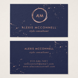 Faux Rose Gold Look on Midnight Blue | Circle Business Card