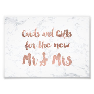 Faux rose gold marble gifts wedding sign