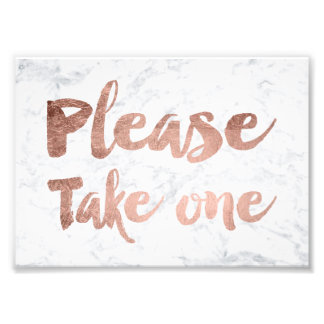 Faux rose gold marble wedding sign poster