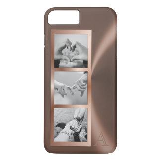 Faux Rose Gold Metal Framed Photo Collage Monogram iPhone 8 Plus/7 Plus Case
