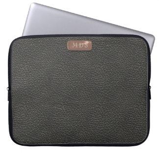 Faux Rose Gold Monogram on Black Laptop Sleeve