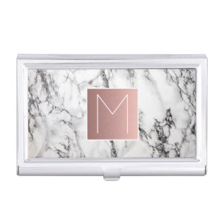 faux rose gold monogram on marble business card holder