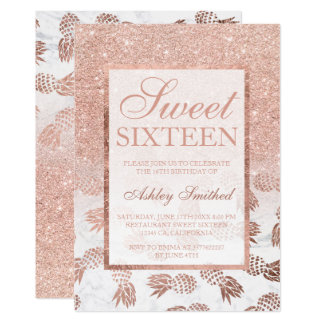 Faux rose gold ombre pineapples marble Sweet 16 Card