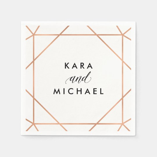 Faux Rose Gold on White Modern Geometric Wedding Paper Napkin