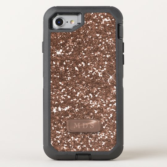 discount 33dc4 9a3fc Faux Rose Gold OtterBox Monogram Sparkle Glittery OtterBox iPhone Case