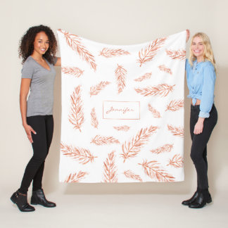 Faux Rose Gold Pink Color Feathers And Name Fleece Blanket