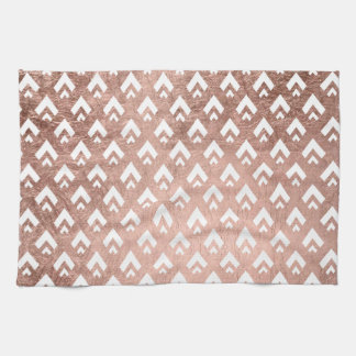 Faux rose gold triangles scallop geometric pattern kitchen towel