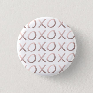 faux rose gold typography hugs and kisses xoxo 1 inch round button