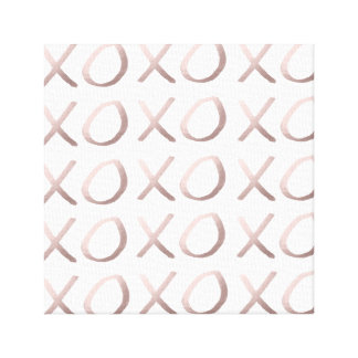 faux rose gold typography hugs and kisses xoxo canvas print