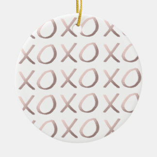 faux rose gold typography hugs and kisses xoxo ceramic ornament