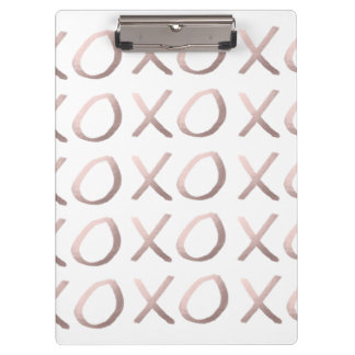 faux rose gold typography hugs and kisses xoxo clipboard