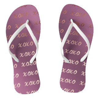 faux rose gold typography hugs and kisses xoxo flip flops