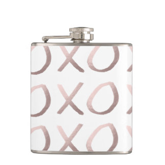 faux rose gold typography hugs and kisses xoxo hip flask