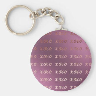 faux rose gold typography hugs and kisses xoxo keychain