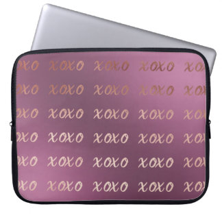 faux rose gold typography hugs and kisses xoxo laptop sleeve