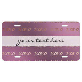 faux rose gold typography hugs and kisses xoxo license plate