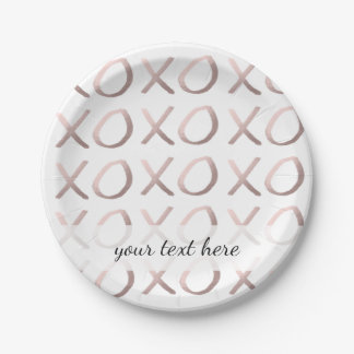faux rose gold typography hugs and kisses xoxo paper plate