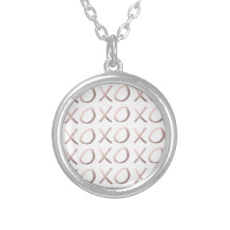 faux rose gold typography hugs and kisses xoxo silver plated necklace