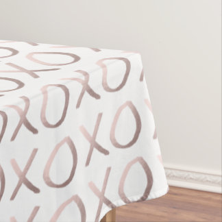 faux rose gold typography hugs and kisses xoxo tablecloth