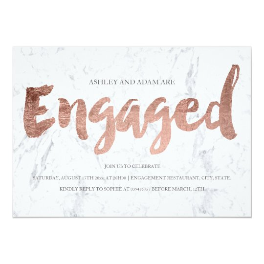 Faux rose gold typography marble engagement party card