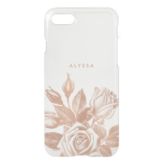 Faux Rose Gold Vintage Tea Roses Clear iPhone 8/7 Case