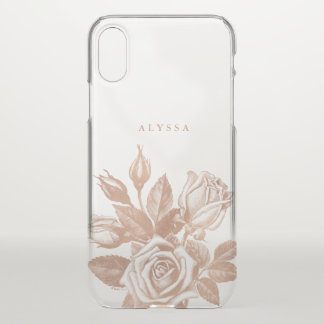 Faux Rose Gold Vintage Tea Roses iPhone X Case