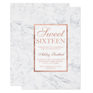 Faux rose gold white marble elegant chic Sweet 16 Card