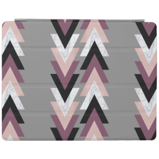 faux rose gold white marble purple black geometric iPad cover