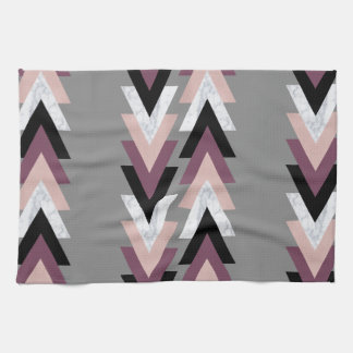 faux rose gold white marble purple black geometric kitchen towel