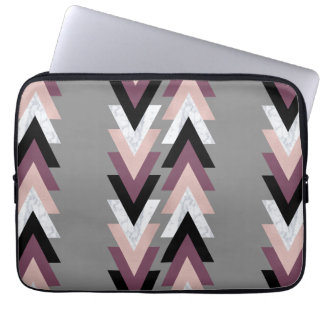 faux rose gold white marble purple black geometric laptop sleeve