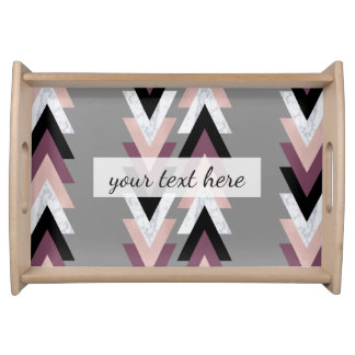 faux rose gold white marble purple black geometric serving tray