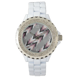 faux rose gold white marble purple black geometric watch