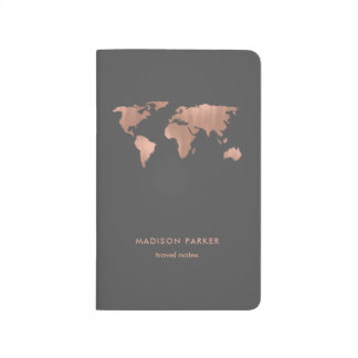 Faux Rose Gold World Map on Smoky Gray Journal