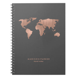 Faux Rose Gold World Map on Smoky Gray Notebooks