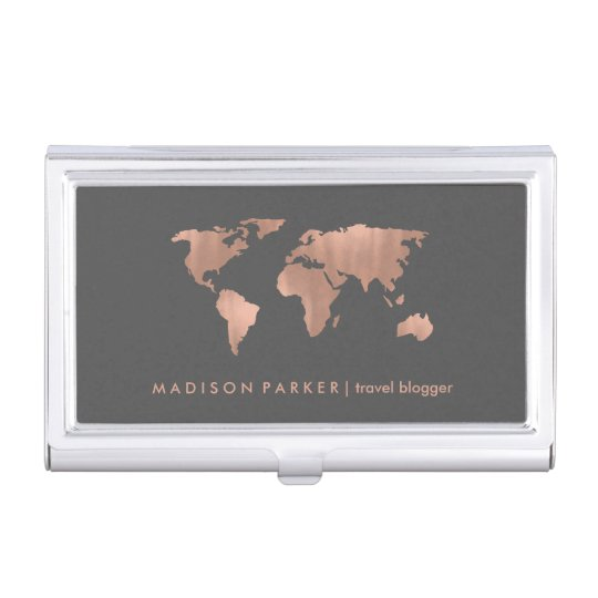 Faux Rose Gold World Map on Smoky Grey Business Card Holder