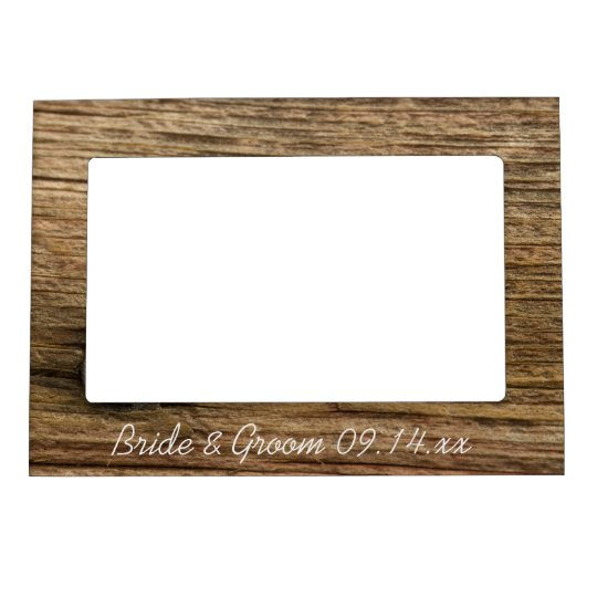 Faux Rustic Barn Wood Country Wedding Magnetic Frames