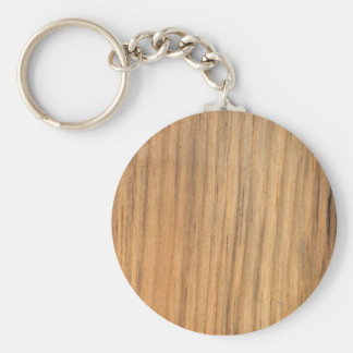 Faux Rustic Finished Barn Wood Basic Round Button Keychain