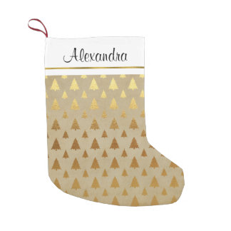 Faux Rustic Gold Foil Christmas Tree Monogram Small Christmas Stocking