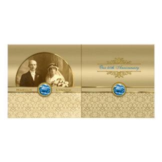 Faux Sapphire Blue Gemstone Metallic Gold Damask Customized Photo Card
