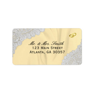 Faux Satin And Lace Golden Wedding Label