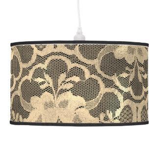 Faux Sepia Gold Lace Glam Black Luxury Pendant Lamp