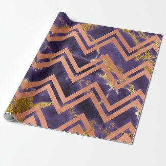 Faux Sepia Gold Marble Zig Zag Chevron Purple Plum Wrapping Paper