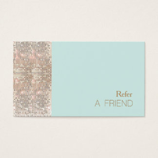 FAUX Sequin Beauty Salon Cusomer Referral Business Card